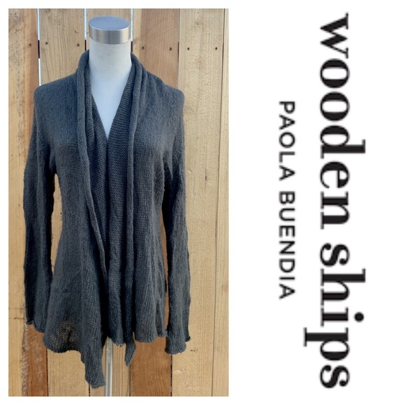 Wooden Ships Sweaters - Wooden Ships Open Cardigan Shrug Dark Gray (S/M)
